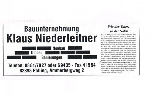 Firmenübergabe von Fritz zu Klaus Niederleitner